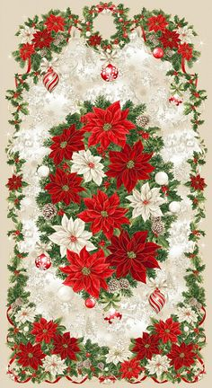 Rejoice Christmas Panel 23 x 44 inches   Etsy Gingerbread Village, Flannel Quilts, Laurel Burch, Gorgeous Fabrics, Fabric Online, Fabric Panels, Poinsettia, Blue And Silver, Christmas Holidays
