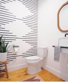 In love with this bathroom design! That washi tape wall looks like one of my favorite rug patterns! Wc Decoration, Diy Wall Decorations, Decor Ideas, Cheap Wall Decor, Wedding Decoration, Diy Ideas, Wall Treatments, Bathroom Inspiration, Home Remodeling
