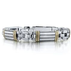J.Goodman Bracelet in Sterling Silver and Solid 18k Yellow Gold Inlay with High Polished Oxidized finish and hidden magnetic box clasp for e...