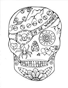 pirate sugar skull free coloring page is featured in great halloween crafts and fun coloring - Book Color Page