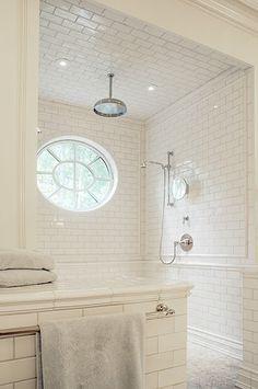 White Subway Tile Bath | Rain Shower | Oval Window | Tile Patterns | Open Shower