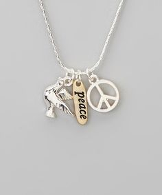 Take a look at this Silver 'Peace' Charm Trio Necklace by Red Water Designs on #zulily today!