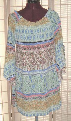WinWin Sz L-XL Blue & Peach Paisley Trumpet Tie Sleeves Stretch Knit Tunic Top #WinWin #Tunic #Casual