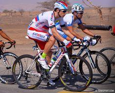 Aleksandr Porsev riding his custom Ultimate CF SLX in Tour of Qatar