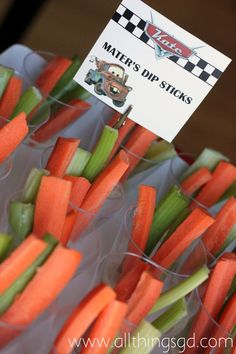 Mater's Dip Sticks: Kate's Cars Themed Birthday Party
