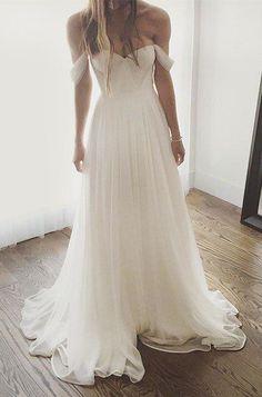 Sexy A-Line Off-Shoulder White Long Chiffon Wedding Dress