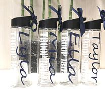 """Custom+Personalized+Wedding,+Groomsman+24+oz+BPA+Free+Water+Bottle    Looking+for+a+fun+personalized+gift?+These+water+bottles+are+perfect!    This+BPA+free+high+grade+insulated+plastic+construction+reduces+condensation+and+is+designed+for+both+HOT+and+COLD+liquids.    Product+Dimensions;  9""""Heig..."""