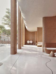 Restaurant Interior Design, Home Interior, Modern Interior Design, Interior And Exterior, Restaurant Exterior, Modern Restaurant, Organic Architecture, Amazing Architecture, Interior Architecture