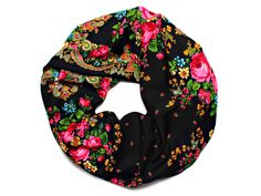 Fringed Russian scarf IN black with floral pattern