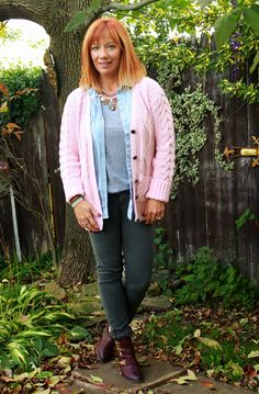 Fall Layers: pink chunky knit cardigan, gray skinny jeans, chambray shirt, statement necklace, burgundy ankle booties