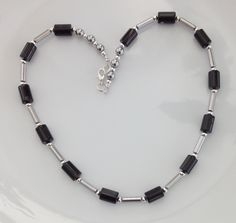 Black Onyx Necklace, Onyx Cylinders, Silver Hematite, Festive Season, Party Necklace, Christmas Gift, Birthday, Anniversary Gift for Wife by AwfyBrawJewellery on Etsy https://www.etsy.com/uk/listing/476009130/black-onyx-necklace-onyx-cylinders