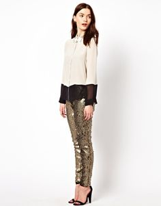Enlarge Aryn K Sequin Drawstring Pant
