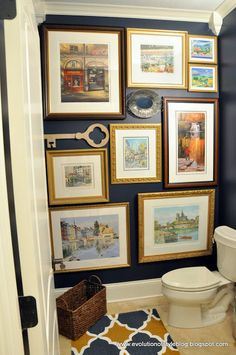 Just love this idea with the gold frames. (Gentlemans Gray by Benjamin Moore - paint color)