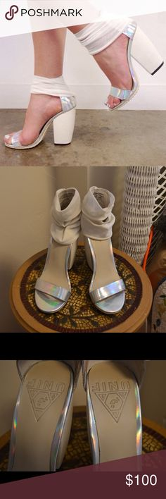 """UNIF Pyre heels in hologram Single-sole sandal with mesh ankle strap by UNIF. 4.5"""" heel .5"""" platform. Leather upper and leather lining with a man made sole. Fits true to size, a UNIF original. Very lightly worn. UNIF Shoes Heels"""