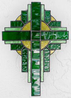 Stained Glass, Stained Glass Art, Stained Glass Cross, Stained Glass Suncatcher, Religious Art, Green Cross. $35.00, via Etsy.