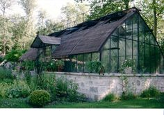 Stone foundation Greenhouse by Serres  d'Antan