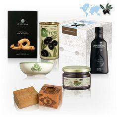Die Geschenkbox Oliven enthält Olivenspezialitäten aus der ganzen Welt. Ein schönes Geschenk für jede Küche und jeden Olivenesser. Auch als Dankeschöngeschenk geeignet.