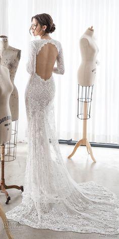 asaf dadush 2017 bridal long sleeves deep v sweetheart neckline full embellishment sexy elegant sheath wedding dress keyhole back sweep train (06) bv -- Asaf Dadush 2017 Wedding Dresses
