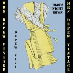 Vintage Sewing Pattern 1930's French Wrap Night Gown by Mrsdepew, $7.50