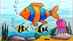 How To Draw Underwater Scenery Step by step learn how to draw this scenery step by step in my drawing tutorial. It is very easy to draw. Basic Drawing For Kids, Scenery Drawing For Kids, Drawing Lessons For Kids, Easy Drawings For Kids, Painting For Kids, Drawing Ideas Kids, Oil Pastel Drawings, Fish Drawings, Disney Drawings