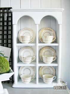 Vintage Plate Rack and Tea Cup Display Cubby ~ Traditional Shabby Cottage Chic…