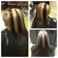 Chunky blonde & brown on client
