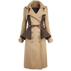 Burberry Wool Peplum Trench Coat (212.160 RUB) ❤ liked on Polyvore featuring outerwear, coats, jackets, burberry, trench coat, women's, beige coat, wool trench coat, woolen trench coat and wool coat