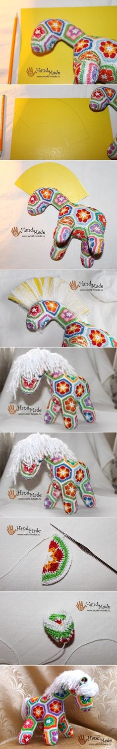 Crochet Amigurumi Horse Free Pattern African Flowers 38 Ideas For 2019 Diy Crochet Toys, Crochet For Kids, Crochet Crafts, Crochet Dolls, Crochet Yarn, Crochet Flowers, Crochet Projects, Free Crochet, African Flower Crochet Animals