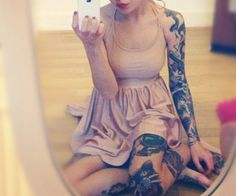 Sleeved girl taking picture of herself. #tattoo #tattoos #ink