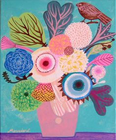 Vase of flowers.Original art painting flowers, bohemian, folk, funky, naive, primitive. By Mercedes Lagunas