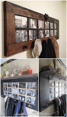 DIY French Door Coat Rack-Repurpose Old Door Into French Door Coat Rack Instruction #HomeDecor