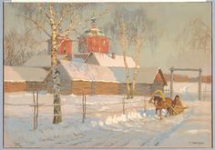 Sergei Lednev-Shchukin (Russian, 1875–1961). A Russian Church in Snow with a Man Riding a Sleigh, 20th century. The Metropolitan Museum of Art, New York. Bequest of Mary Jane Dastich, in memory of her husband, General Frank Dastich, 1975 (1975.280.12)