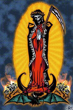 Dibujos-de-la-Santa-Muerte-con-colores-4.jpg 430×650 pixeles