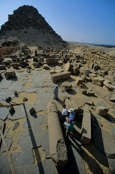 Pyramid complex in Abusir, Egypt. Abusir is a 5th dynasty necropolis. 7 pyramids can be founds here. Not all 5th dynasty pyramids are at Abusir there are 2 at Sakkara/Saqqara (Unas and Userkaf)
