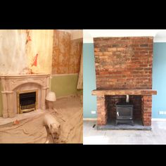 Exposed brick fire place, stove, gas stove, living room, before and after