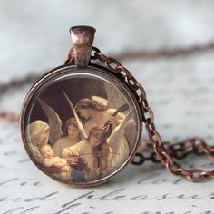 The Virgin with Angels Pendant Necklace by LiteraryArtPrints