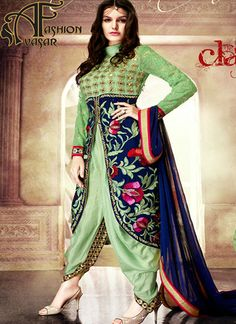 Achkan Style Green & Blue Color with Crystals Work Incredible Unstitched Salwar Kameez