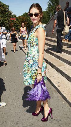 Olivia Palermo llega al desfile de Stephane Rolland Haute Couture. Usa un vestido de Zara.