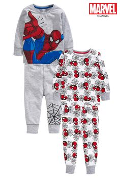 Buy Grey/Red Spider-Man® Pyjamas Two Pack (9mths-8yrs) from the Next UK online shop