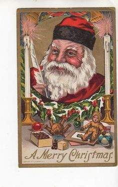 C714 Postcard Christmas Santa Claus Red Suit Lots of Toys Doll Teddy Bear | eBay