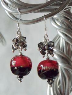 Black Tie Cranberry Pink Earrings  -SOLD