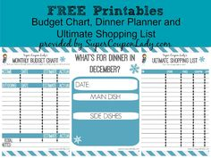 Free Printables: Budget Chart, Dinner Planner and Ultimate Shopping List! Print one, 2 or all three! http://www.supercouponlady.com/2014/01/free-printables-budget-chart-dinner-planner-ultimate-shopping-list.html/