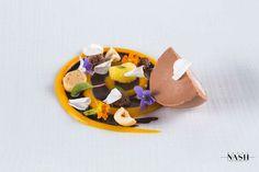 "Passion Fruit Chocolate Spiral, Gianduja Semifreddo, Passion Fruit Foam, Hazelnut ""Sponge' by Pastry Chef Antonio Bachour, via Flickr"