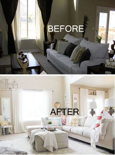 Bold and Bright Living Room Makeover - before & after | Drapes ...