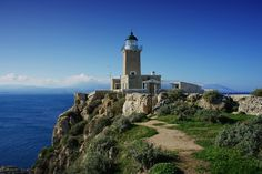 In Loutraki, in the prefecture of Corinth, west of Lake Vouliagmeni, dominates the cape of Heraion of Perachora or Melagkavi. Here is a stone lighthouse, which opened in 1897 with oil. Lighthouse during the second world war remained inactive and reopened in 1947. Guardian Angels, Sea Birds, My Town, Far Away, World War Two, Willis Tower, Empire State Building, The Rock, Statue Of Liberty
