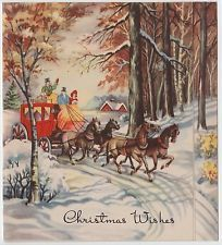 Vintage Greeting Card Christmas Art Deco Stagecoach People Horse Landscape