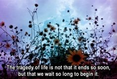 The tragedy of life is not that it ends so soon, but that we wait so long to begin it.