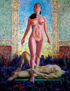 Surrealismo, pintura artística, Óleo sobre tela