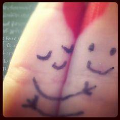 hugging. :)