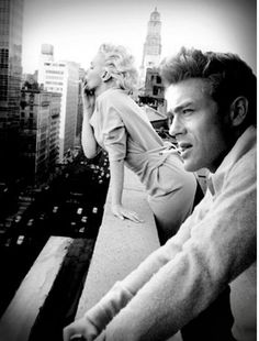 Marilyn Monroe and James Dean smoking in New York City